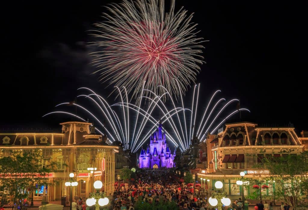 Magic Kingdom fireworks spots from Main Street Train Station