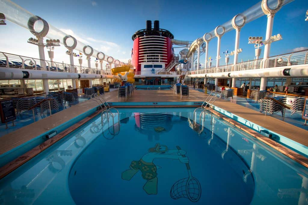 Pool views on the Disney Fantasy that you can plan for after booking a Disney cruise.