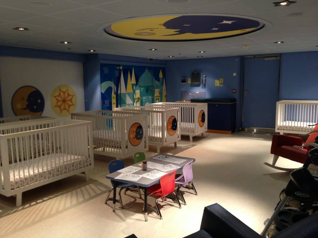 It's A Small World Nursery is available onboard Disney Cruise Line at an extra charge for children age 6 months to 3 years old.