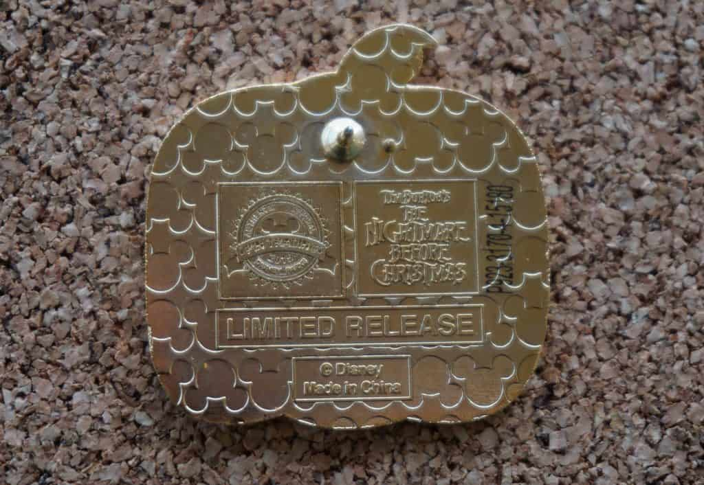 Back of a limited release Disney pin showing it's status.